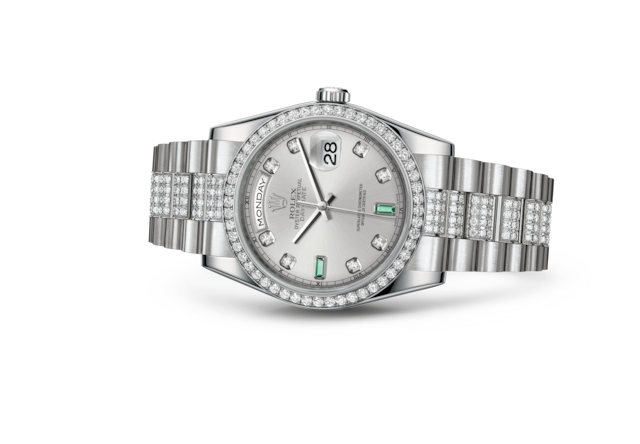 Day-Date 36 - Rhodium set with diamonds and emeralds, platinum and diamonds