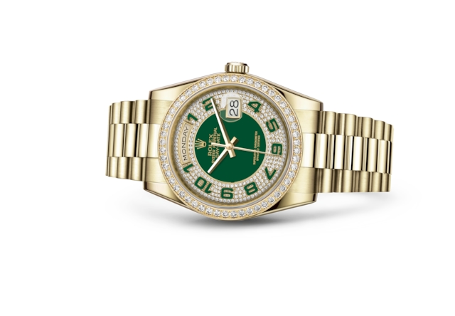 Day-Date 36 - Verde, con pavé di diamanti, oro giallo e diamanti
