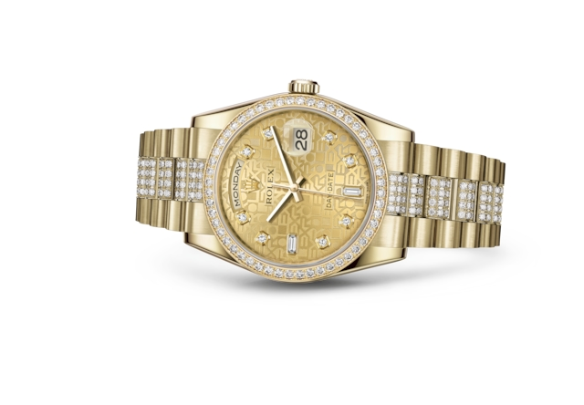 Day-Date 36 - Champagne-colour Jubilee design set with diamonds, yellow gold and diamonds