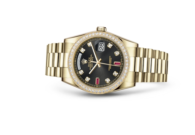 Day-Date 36 - Black set with diamonds and rubies, yellow gold and diamonds
