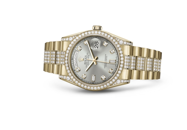 Day-Date 36 - Plateada engastada con diamantes, oro amarillo y diamantes