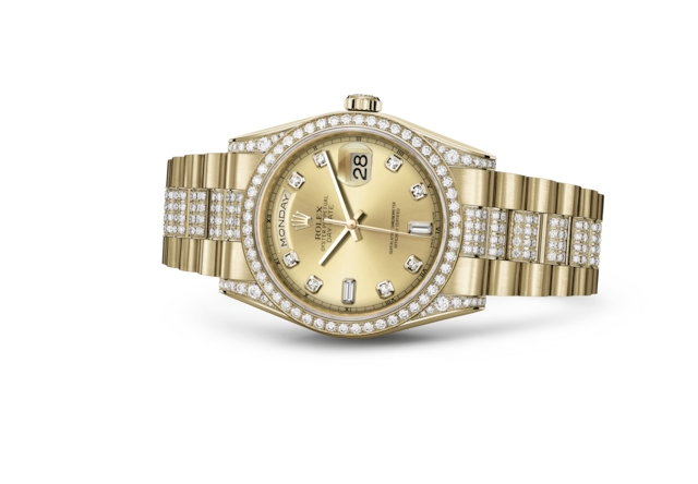 Day-Date 36 - Couleur champagne, serti de diamants, or jaune et diamants