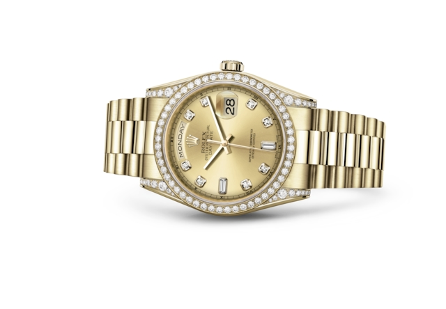 Day-Date 36 - Color champagne con diamanti, oro giallo e diamanti