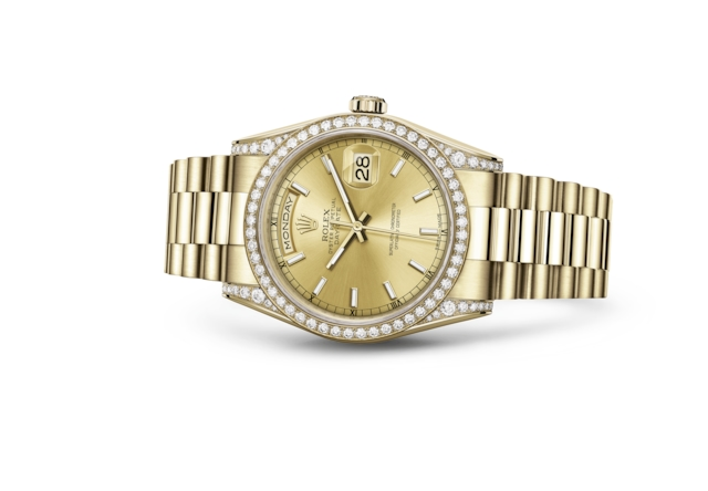 Day-Date 36 - Color champagne, oro giallo e diamanti
