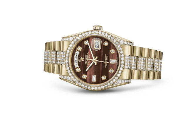 Day-Date 36 - Bull's eye set with diamonds, yellow gold and diamonds