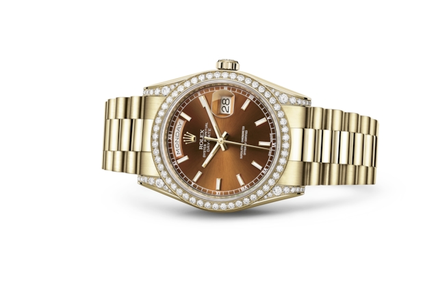 Day-Date 36 - Cognac, or jaune et diamants