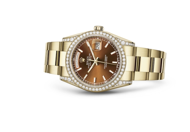 Day-Date 36 - Cognac, oro giallo e diamanti