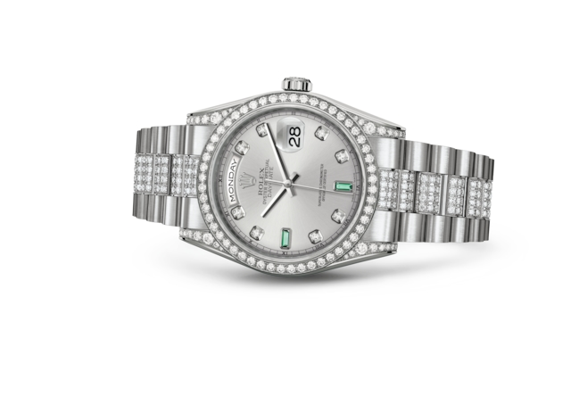 Day-Date 36 - Rhodium set with diamonds and emeralds, white gold