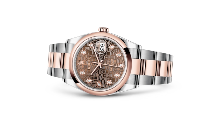 Datejust 36 - Decoro Jubilé chocolate con diamanti, Acciaio Oystersteel e oro Everose