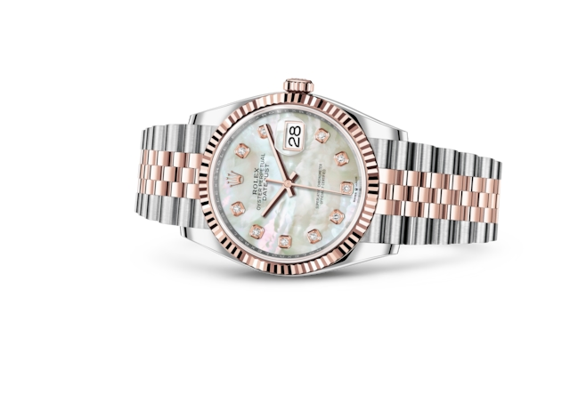 Datejust 36 - White mother-of-pearl set with diamonds, Oystersteel and Everose gold