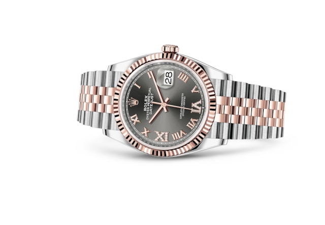 Datejust 36 - Dark rhodium set with diamonds, Oystersteel and Everose gold