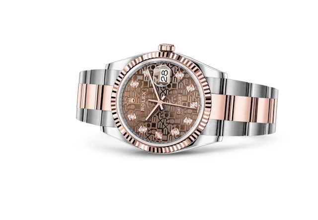 Datejust 36 - Jubilé chocolat, serti de diamants, Acier Oystersteel et or Everose