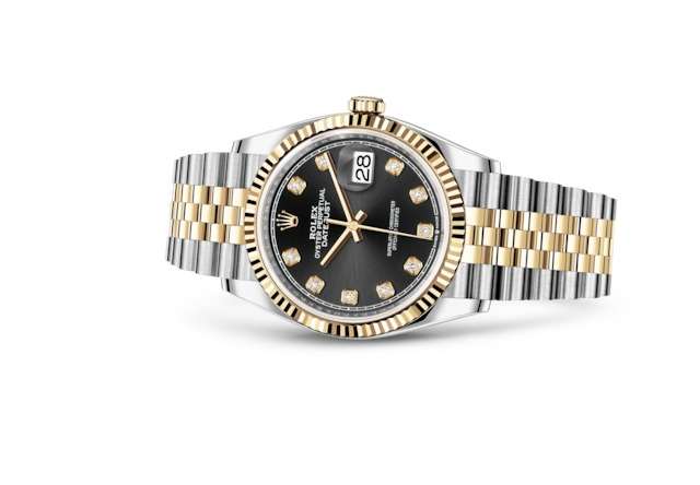Datejust 36 - Black set with diamonds, Oystersteel and yellow gold