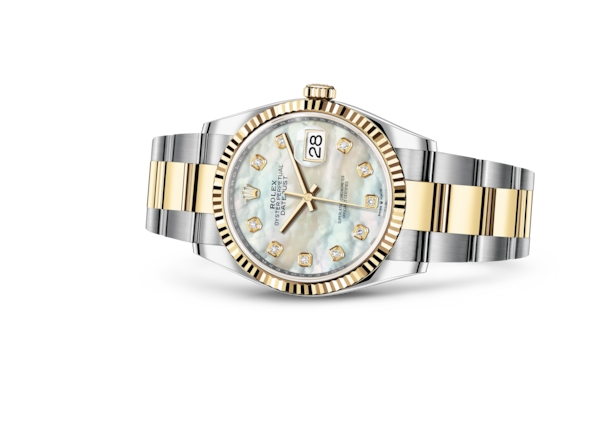 Datejust 36 - White mother-of-pearl set with diamonds, Oystersteel and yellow gold