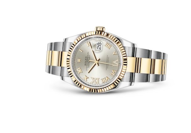 Datejust 36 - Silver set with diamonds, Oystersteel and yellow gold