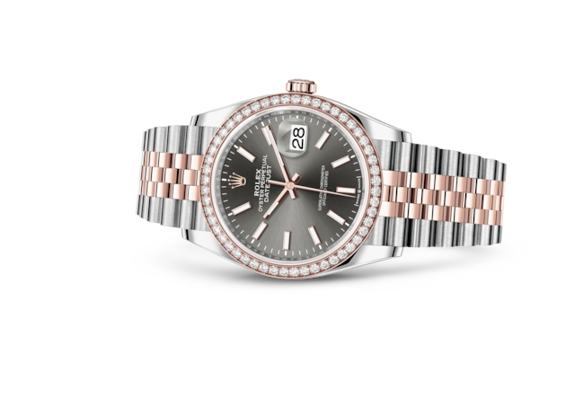 Datejust 36 - Dark rhodium, Oystersteel, Everose gold and diamonds