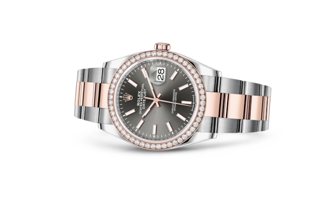 Datejust 36 - Rhodium scuro, Acciaio Oystersteel, oro Everose e diamanti