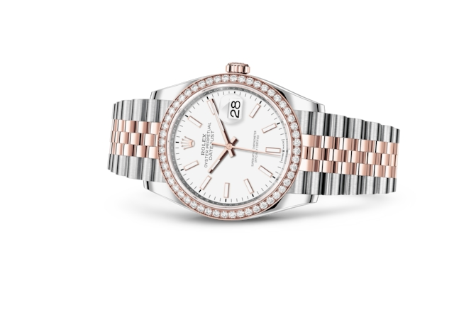 Datejust 36 - White, Oystersteel, Everose gold and diamonds