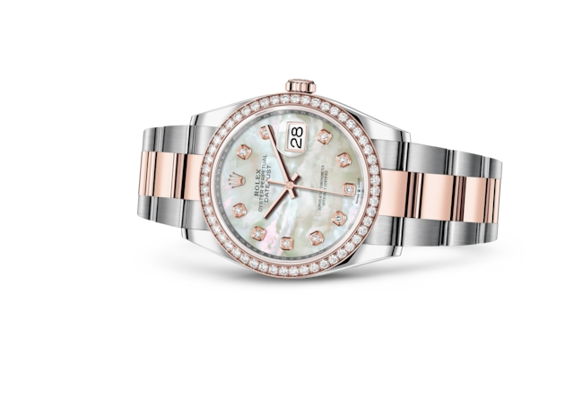 Datejust 36 - White mother-of-pearl set with diamonds, Oystersteel, Everose gold and diamonds