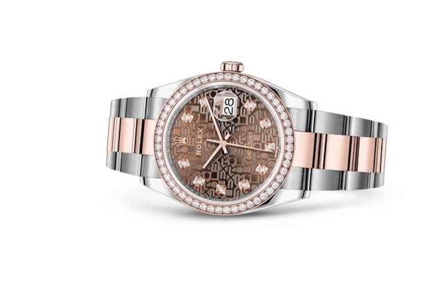 Datejust 36 - Chocolate Jubilee design set with diamonds, Oystersteel, Everose gold and diamonds