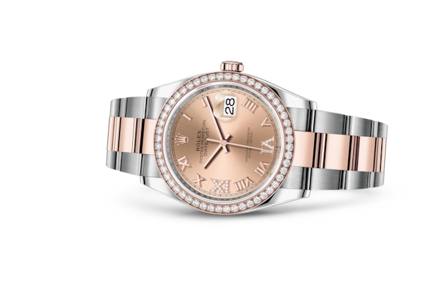 Datejust 36 - Rose set with diamonds, Oystersteel, Everose gold and diamonds