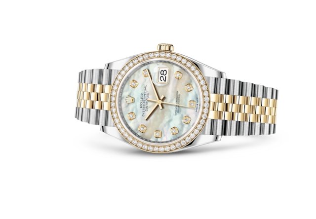 Datejust 36 - White mother-of-pearl set with diamonds, Oystersteel, yellow gold and diamonds