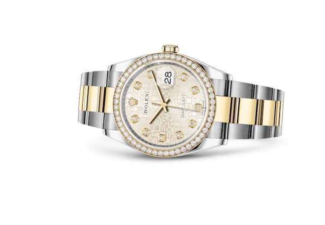 Datejust 36 - Jubilé argent, serti de diamants, Acier Oystersteel, or jaune et diamants