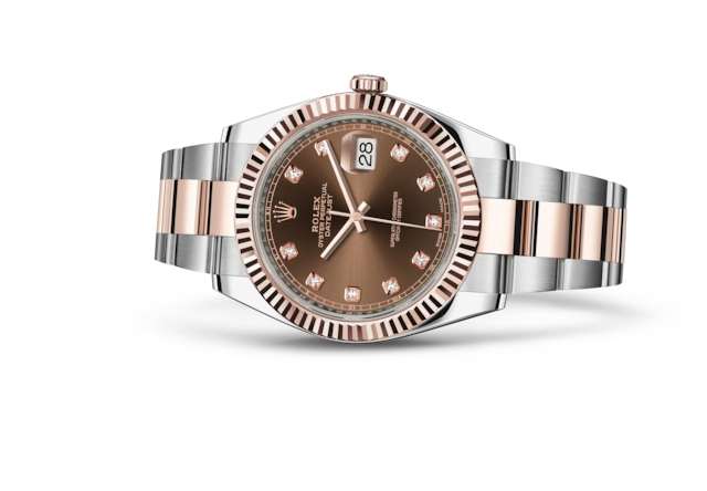 Datejust 41 - Chocolate engastada de diamantes, Acero Oystersteel y oro Everose