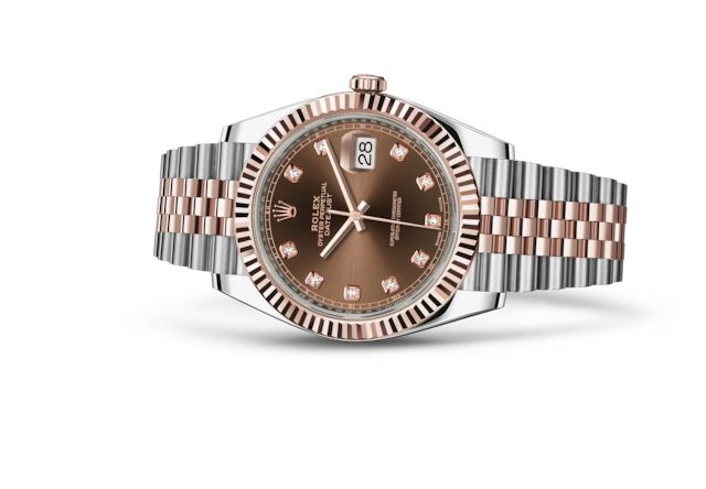 Datejust 41 - Chocolate con diamanti, Acciaio Oystersteel e oro Everose