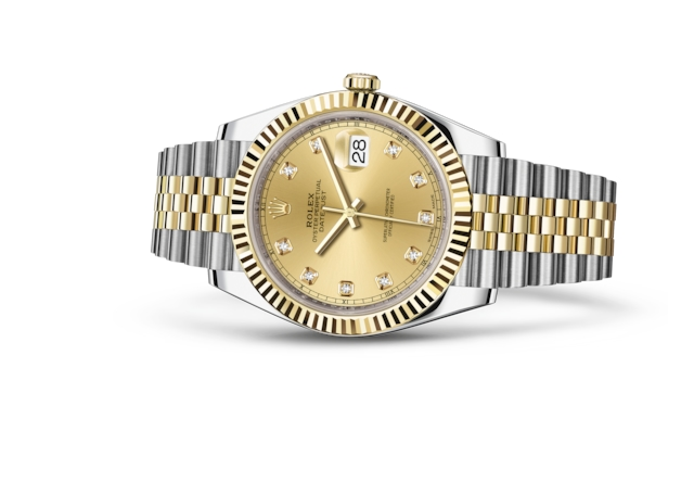 Datejust 41 - Champagne-colour set with diamonds, Oystersteel and yellow gold