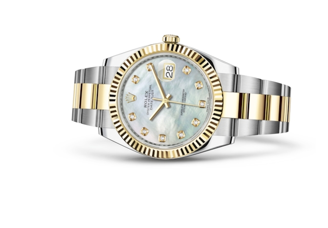 Datejust 41 - White mother-of-pearl set with diamonds, Oystersteel and yellow gold