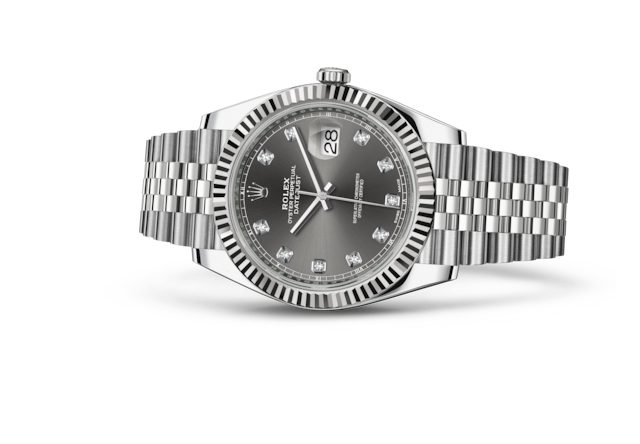 Datejust 41 - Dark rhodium set with diamonds, Oystersteel and white gold