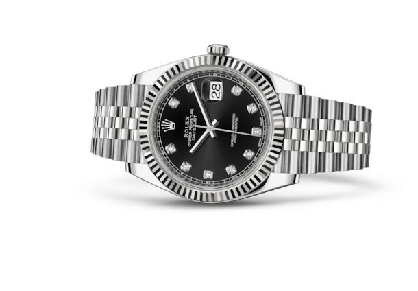 Datejust 41 - Black set with diamonds, Oystersteel and white gold