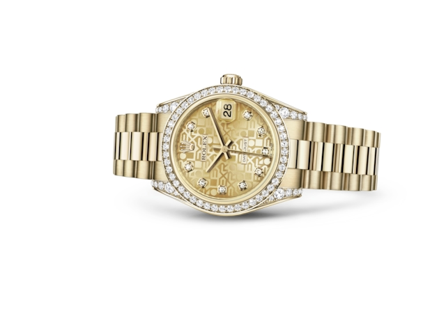 Datejust 31 - Jubilé couleur champagne, serti de diamants, or jaune et diamants