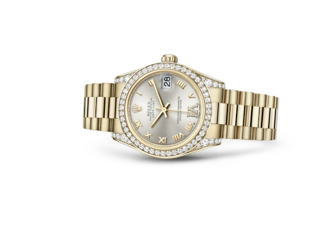 Datejust 31 - Argenté, serti de diamants, or jaune et diamants