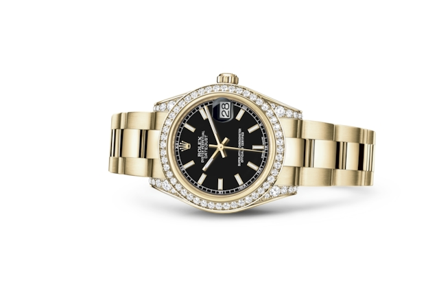 Datejust 31 - Black, yellow gold and diamonds
