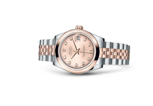 Datejust 31 - Rose, serti de diamants, Acier Oystersteel et or Everose