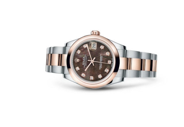 Datejust 31 - Black mother-of-pearl set with diamonds, Oystersteel and Everose gold