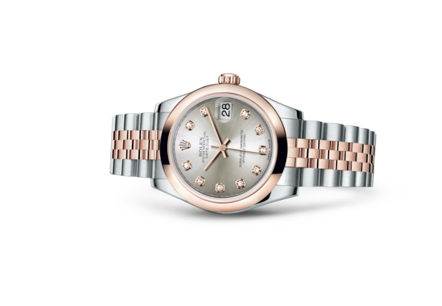 Datejust 31 - Silver set with diamonds, Oystersteel and Everose gold