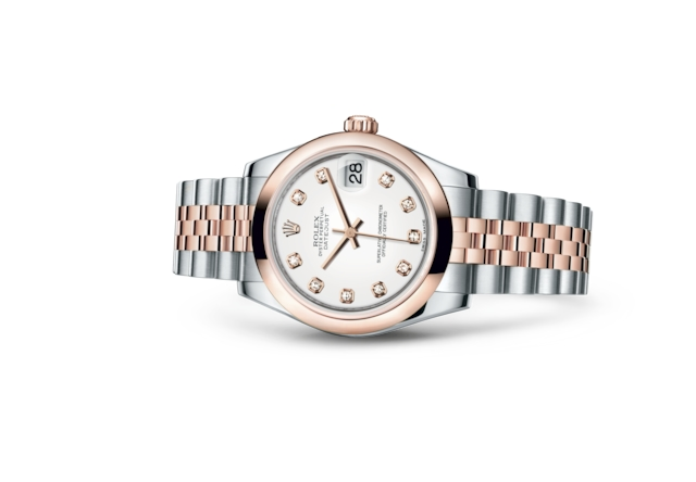 Datejust 31 - Blanc, serti de diamants, acier et or Everose