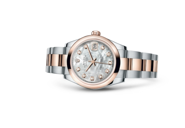 Datejust 31 - White mother-of-pearl set with diamonds, Oystersteel and Everose gold