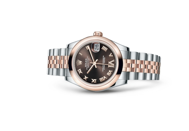 Datejust 31 - Chocolat, serti de diamants, acier et or Everose