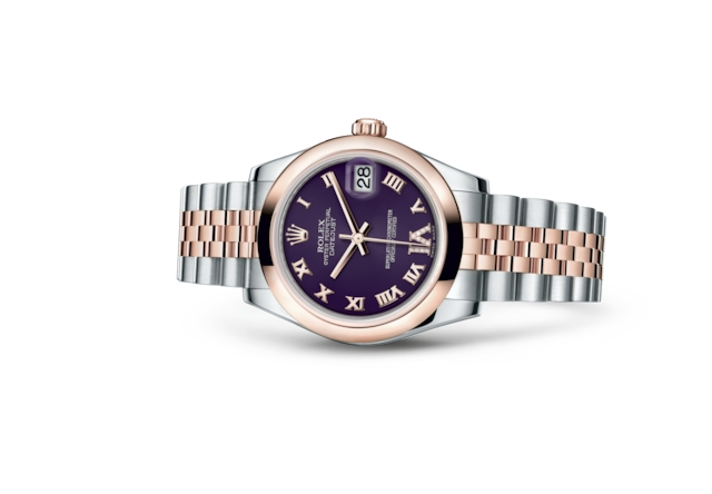 Datejust 31 - Purple set with diamonds, Oystersteel and Everose gold