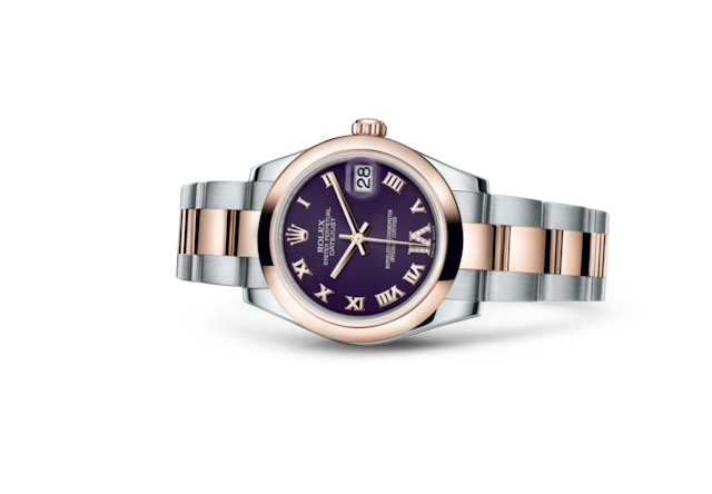 Datejust 31 - Violet, serti de diamants, Acier Oystersteel et or Everose