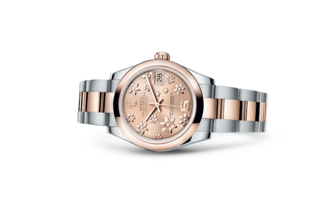 Datejust 31 - Pink, raised floral motif, Oystersteel and Everose gold