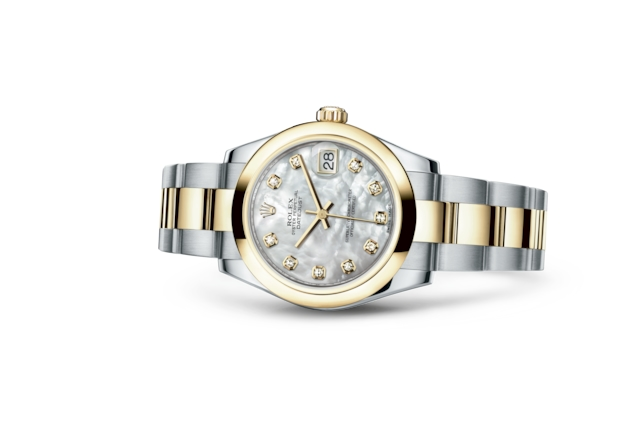 Datejust 31 - White mother-of-pearl set with diamonds, Oystersteel and yellow gold