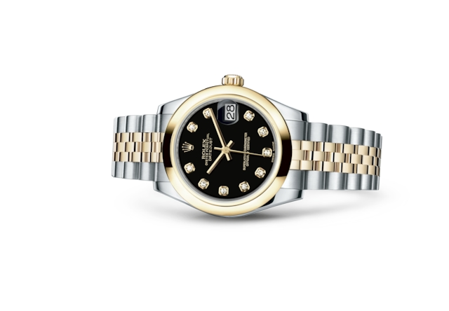 Datejust 31 - Black set with diamonds, Oystersteel and yellow gold