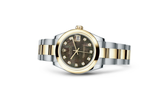 Datejust 31 - Black mother-of-pearl set with diamonds, Oystersteel and yellow gold