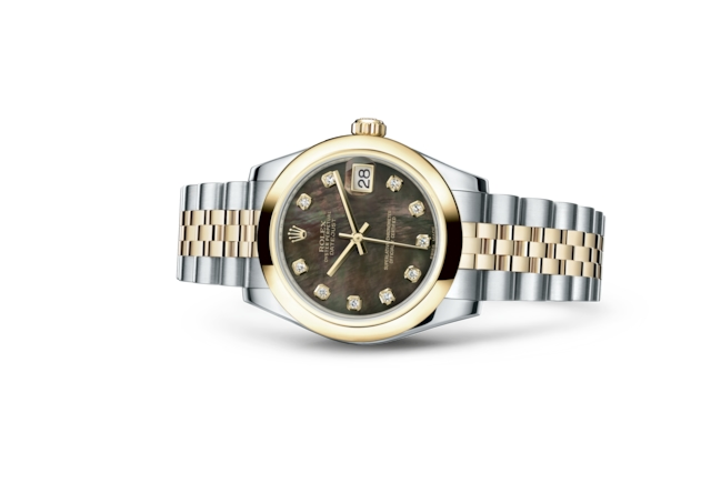 Datejust 31 - Black mother-of-pearl set with diamonds, steel and yellow gold