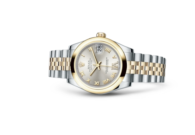 Datejust 31 - Silver set with diamonds, Oystersteel and yellow gold